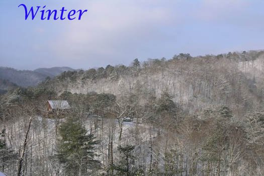winter smoky mountain view at r & r hideaway a 1 bedroom cabin rental located in pigeon forge