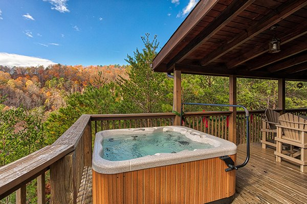 Hot tub on the deck surrounded by views at R & R Hideaway, a 1 bedroom cabin rental located in Pigeon Forge