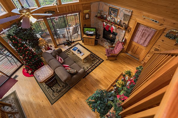 Looking down on the main floor at R & R Hideaway, a 1 bedroom cabin rental located in Pigeon Forge