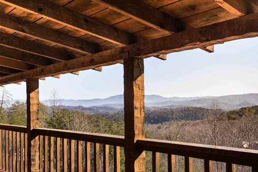 view from the covered deck at a postcard view a 1 bedroom cabin rental located in pigeon forge