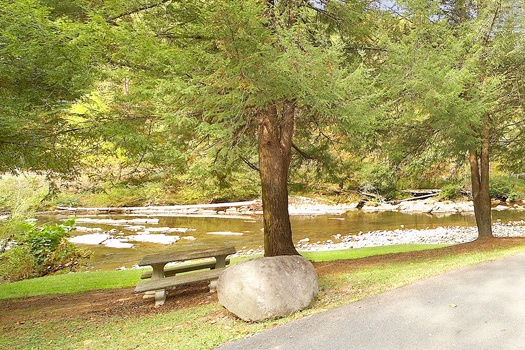 picnic table by the river at dolly's adorable river cottage a 3 bedroom cabin rental located in pigeon forge