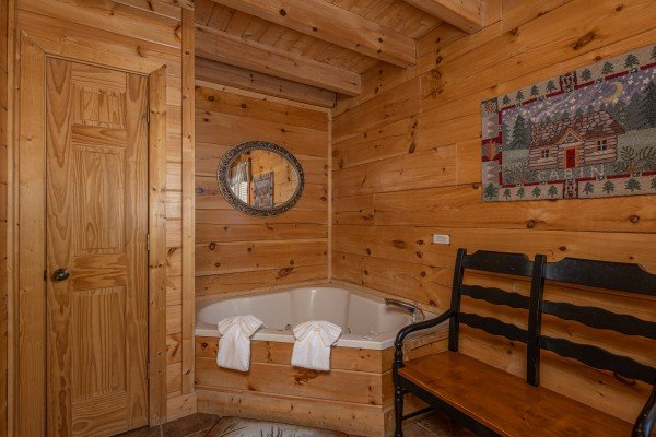 Jacuzzi in the bedroom at Southern Comfort Memories, a 2 bedroom cabin rental located in Pigeon Forge