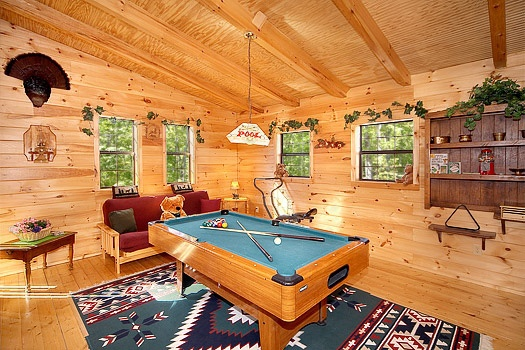 lofted game room with pool table at shy bear a 2 bedroom cabin rental located in pigeon forge