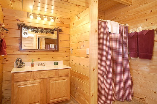 main level bathroom at shy bear a 2 bedroom cabin rental located in pigeon forge