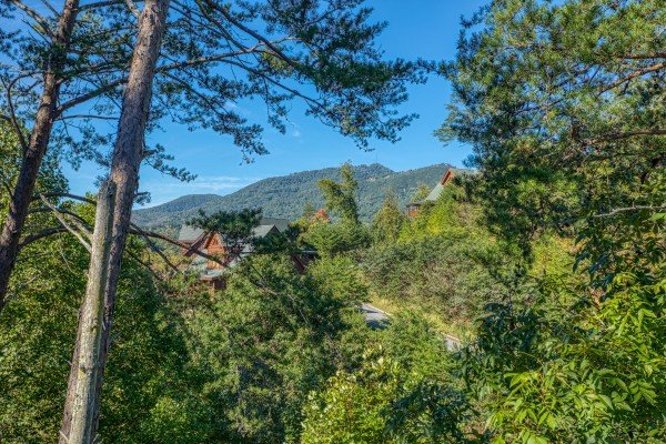 Mountain view at Bears Eye View, a 2-bedroom cabin rental located in Pigeon Forge