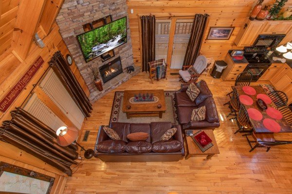 Overhead view of the living room from upstairs at Bears Eye View, a 2-bedroom cabin rental located in Pigeon Forge