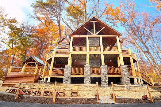 looking up at the decks across the back of incredible! a 6 bedroom cabin rental located in gatlinburg
