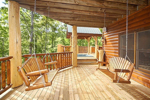 conversational deck swings at incredible! a 6 bedroom cabin rental located in gatlinburg