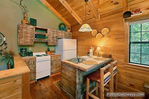 barnwood kitchen cabinets at i do a 1 bedroom cabin rental located in pigeon forge
