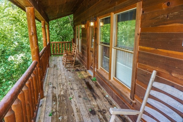 Front porch at Just You and Me Baby, a 1 bedroom cabin rental located in Gatlinburg