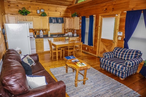 living room at just you and me baby a 1 bedroom cabin rental located in gatlinburg