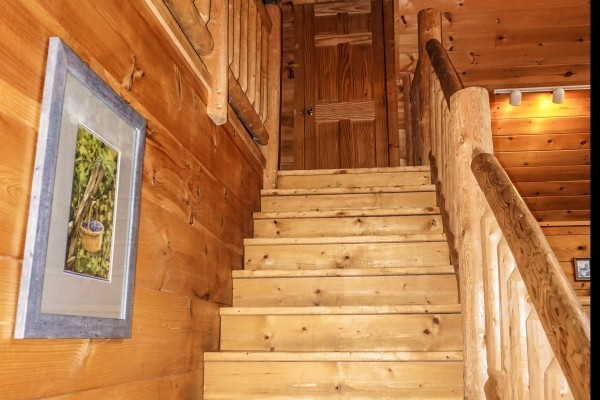 Stairs up to loft at Just You and Me Baby, a 1 bedroom cabin rental located in Gatlinburg