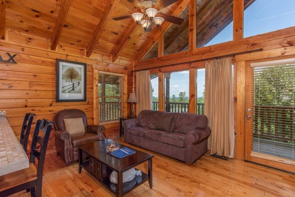 Seating area off the main living room at Majestic Sunrise, a 1 bedroom cabin rental located in Pigeon Forge