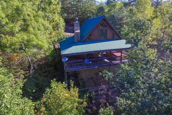 Drone view of cabin from above at Alone Time, a 1 bedroom cabin rental located in Pigeon Forge
