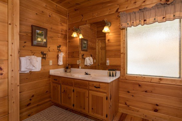 Bathroom vanity at Alone Time, a 1 bedroom cabin rental located in Pigeon Forge