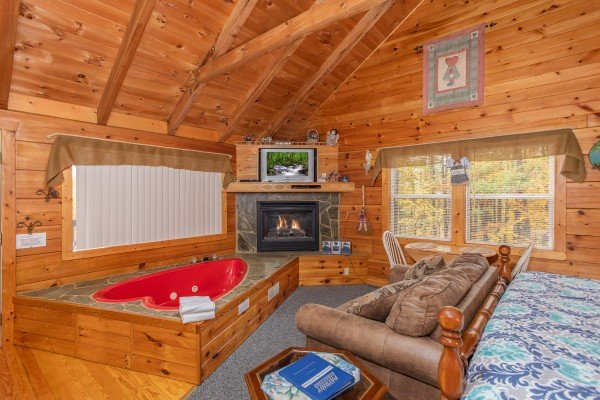 Studio style cabin called Love Me Tender, a 1 bedroom cabin rental located in Pigeon Forge