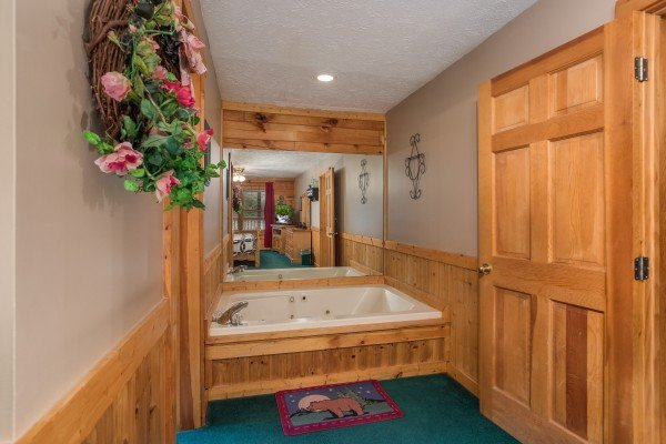 Jacuzzi in a bedroom at Timber Creek, a 4 bedroom cabin rental located in Pigeon Forge
