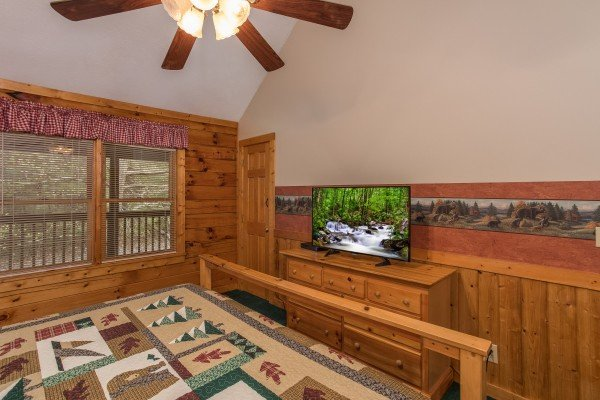 TV in the loft bedroom at Timber Creek, a 4 bedroom cabin rental located in Pigeon Forge