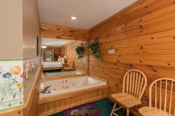 Jacuzzi in a king bedroom at Timber Creek, a 4 bedroom cabin rental located in Pigeon Forge