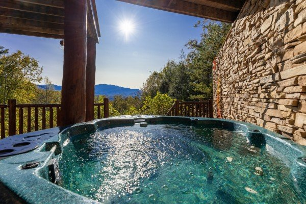 View from the hot tub at Grizzly's Den, a 5 bedroom cabin rental located in Gatlinburg