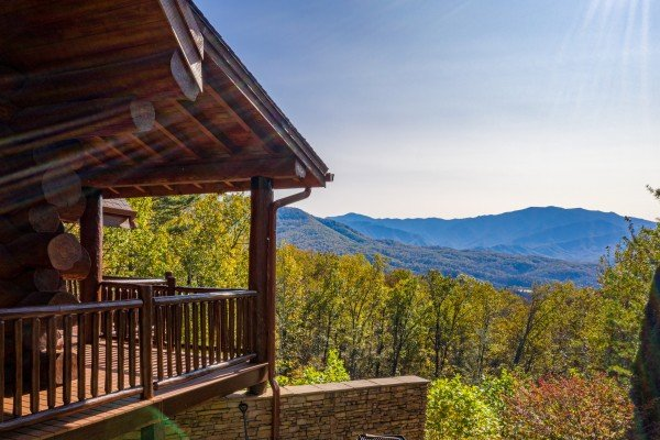View from the ground of the house and mountains at Grizzly's Den, a 5 bedroom cabin rental located in Gatlinburg