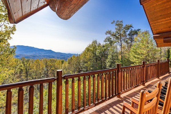 View from the upper deck at Grizzly's Den, a 5 bedroom cabin rental located in Gatlinburg