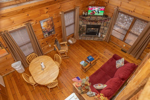 Looking down at the main floor at Fallin' in Love, a 1 bedroom cabin rental located in Gatlinburg