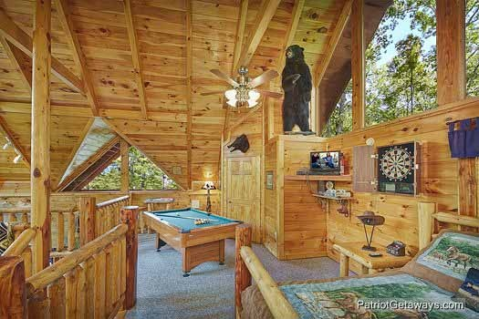lofted game room with pool table at wild bill's hideout a 2 bedroom cabin rental located in gatlinburg
