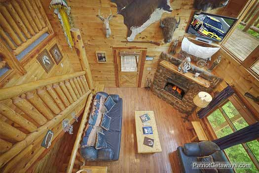 Overhead view of living room at Wild Bill's Hideout, a 2 bedroom cabin rental located in Gatlinburg