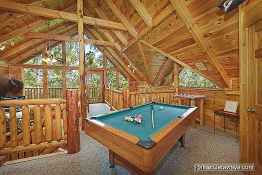 Pool table in loft at Wild Bill's Hideout, a 2 bedroom cabin rental located in Gatlinburg