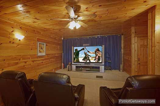 Theater room screen  at Wild Bill's Hideout, a 2 bedroom cabin rental located in Gatlinburg