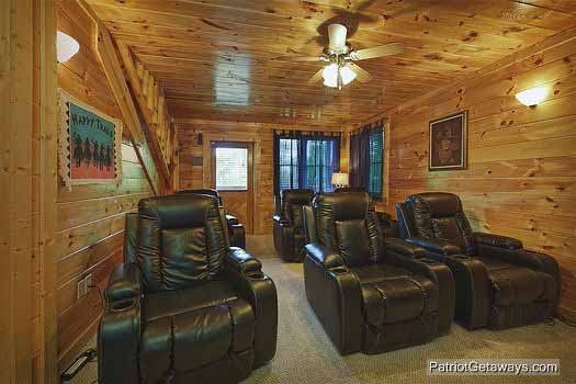Theater room seating at Wild Bill's Hideout, a 2 bedroom cabin rental located in Gatlinburg