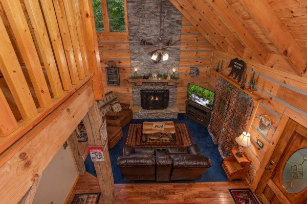 Looking down at the living room at Stream On! A 2 bedroom cabin rental located in Pigeon Forge