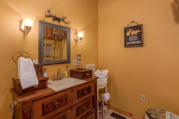 Bathroom vanity at Stream On! A 2 bedroom cabin rental located in Pigeon Forge