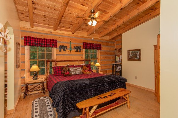 First bedroom with a king bed at Stream On! A 2 bedroom cabin rental located in Pigeon Forge