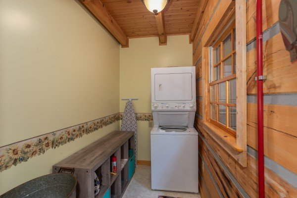 Laundry room at Stream On! A 2 bedroom cabin rental located in Pigeon Forge