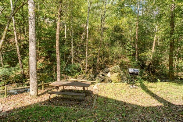Picnic table in the yard by the stream at Stream On! A 2 bedroom cabin rental located in Pigeon Forge