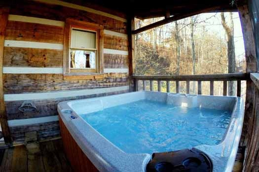 deck with hot tub at smoky mountain romance a 1 bedroom cabin rental located in pigeon forge