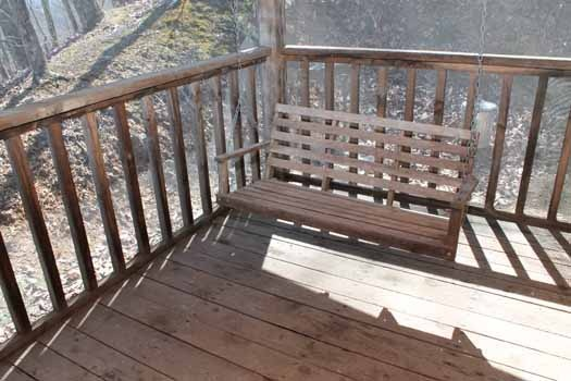 front porch swing at smoky mountain romance a 1 bedroom cabin rental located in pigeon forge