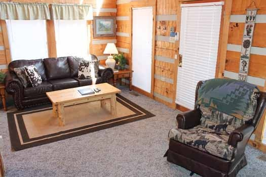 living room area at smoky mountain romance a 1 bedroom cabin rental located in pigeon forge