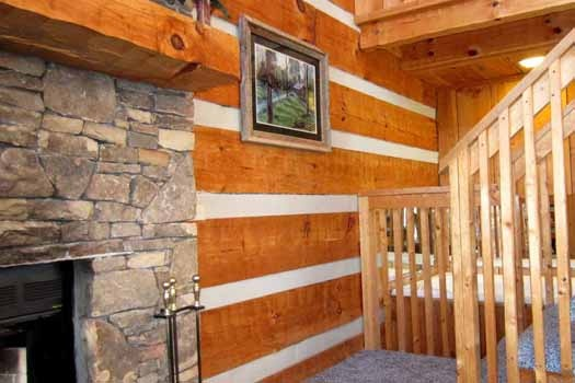 living room staircase at smoky mountain romance a 1 bedroom cabin rental located in pigeon forge