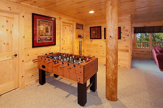 game room with foosball table at lookout lodge a 4 bedroom cabin rental located in pigeon forge