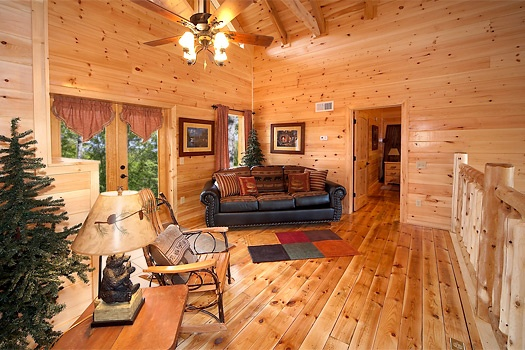 sofa bed in the loft at lookout lodge a 4 bedroom cabin rental located in pigeon forge