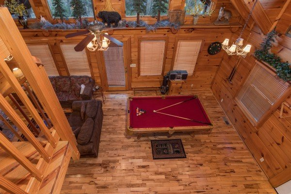 overhead view of the pool table at always & forever a 1 bedroom cabin rental located in pigeon forge