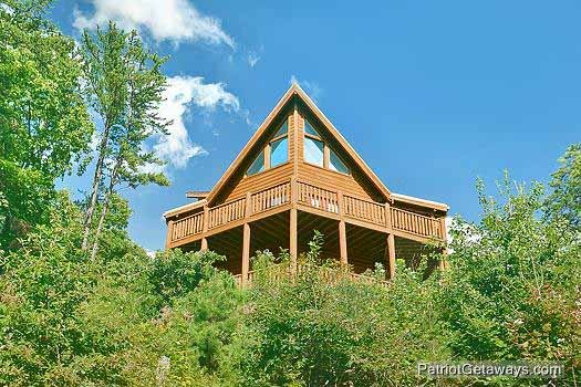 Rear exterior view at Tennessee Dreamer, a 5 bedroom cabin rental located in Pigeon Forge