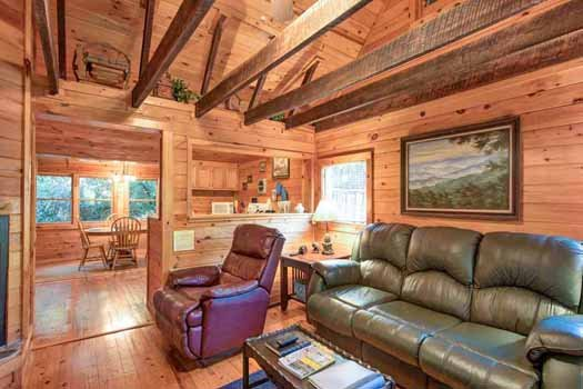 living room with a couch and recliner at a beautiful river a 1 bedroom cabin rental located in gatlinburg