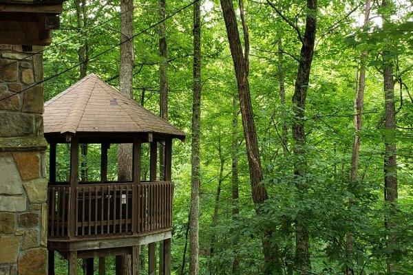 Looking at the hot tub gazebo at Cabin on the Mountain, a 2 bedroom cabin rental located in Gatlinburg
