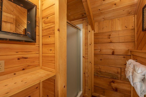 Shower stall in the loft bathroom at Cabin on the Mountain, a 2 bedroom cabin rental located in Gatlinburg