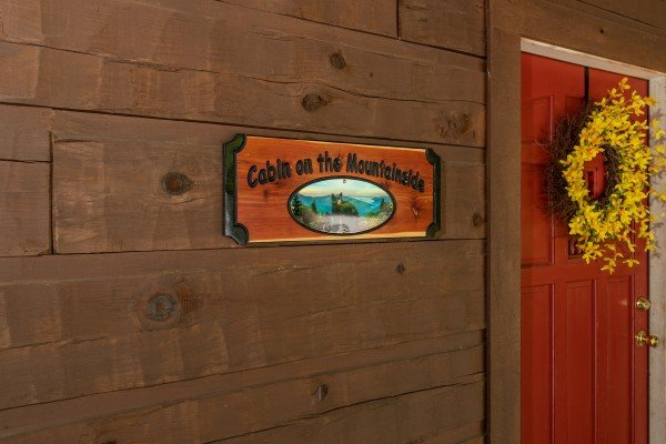 Custom welcome sign at Cabin on the Mountain, a 2 bedroom cabin rental located in Gatlinburg