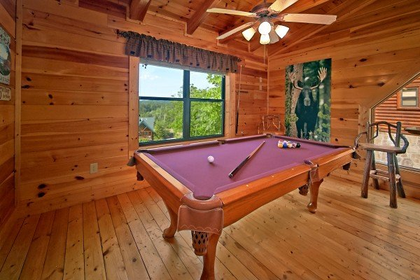 pool table at an elegant moose a 2 bedroom cabin rental located in pigeon forge